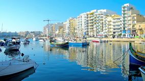 Λιμένας του ST ιουλιανός, Μάλτα απόθεμα βίντεο