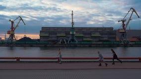 Λιμένας φορτίου στην προκυμαία Ποταμός γερανοί εμπορευματοκιβώτια Τα άτομα οδηγούν στους σκέιτερ κυλίνδρων απόθεμα βίντεο