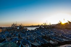 Λιμένας Essaouira για το ηλιοβασίλεμα Στοκ φωτογραφία με δικαίωμα ελεύθερης χρήσης