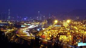 Λιμένας Timelapse εμπορευματοκιβωτίων. Χονγκ Κονγκ. Ζουμ έξω Sho απόθεμα βίντεο