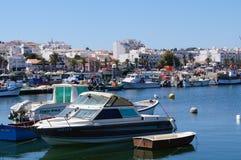 Λιμένας Villamoura, πόλη του νότου της Πορτογαλίας Μπροστινή όψη Στοκ Φωτογραφία