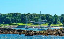 Λιμενικά Sailboats Dartmouth Μασαχουσέτη Padnaram κυματοθραυστών Στοκ Εικόνες
