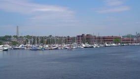Λιμενική άποψη της Βοστώνης από το νερό απόθεμα βίντεο