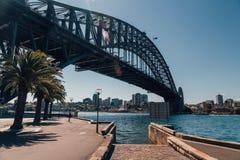 Λιμενική γέφυρα στο Σίδνεϊ με τους φοίνικες Στοκ Φωτογραφία