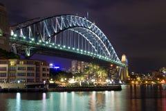 λιμενική νύχτα Σύδνεϋ γεφυρών Στοκ Εικόνες