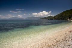 Λιμενική παραλία της Sami Cephalonia Kefelonia, Ελλάδα Στοκ Φωτογραφίες