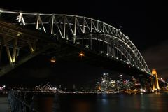 Λιμενικοί γέφυρα, Όπερα και ορίζοντας του Σίδνεϊ Στοκ Εικόνες