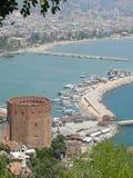 λιμενικός κόκκινος πύργος Τουρκία alanya στοκ εικόνες