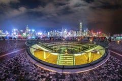 Λιμενικό Χονγκ Κονγκ Βικτώριας άποψης εικονικής παράστασης πόλης τη νύχτα Στοκ Εικόνα