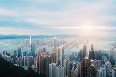 Λιμενικό Χονγκ Κονγκ Βικτώριας στο ηλιοβασίλεμα Στοκ Εικόνες