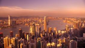 Λιμενικό Χονγκ Κονγκ Βικτώριας στο ηλιοβασίλεμα Στοκ Φωτογραφίες