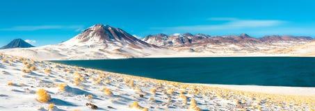 Λιμνοθάλασσα Miscanti και λόφος Miscanti στο υψηλό των Άνδεων οροπέδιο Altiplano σε ένα ύψος στοκ φωτογραφία με δικαίωμα ελεύθερης χρήσης