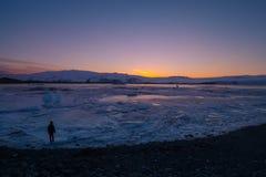Λιμνοθάλασσα παγετώνων Jokulsarlon - νοτιοανατολική Ισλανδία Στοκ Φωτογραφίες