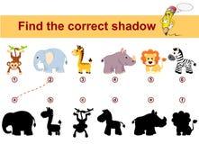 Βρείτε τη σωστή σκιά Εκπαιδευτικό παιχνίδι παιδιών Αφρικανικά ζώα Λιοντάρι, ελέφαντας, giraffe, πίθηκος, με ραβδώσεις και ρινόκερ απεικόνιση αποθεμάτων
