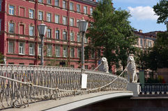λιοντάρι Πετρούπολη s ST γεφυρών Στοκ φωτογραφίες με δικαίωμα ελεύθερης χρήσης