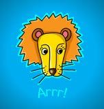 Λιοντάρι σε ένα μπλε υπόβαθρο απεικόνιση αποθεμάτων