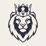 Λιοντάρι στη διανυσματική μασκότ κορωνών στοκ εικόνες με δικαίωμα ελεύθερης χρήσης