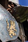 Λιοντάρι Sigil στο τεθωρακισμένο χάλυβα Στοκ Φωτογραφία