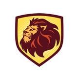 Λιονταριών επικεφαλής λογότυπων ασπίδων έμβλημα απεικόνισης προτύπων διανυσματικό ελεύθερη απεικόνιση δικαιώματος
