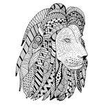 Λιονταριών χέρι που σύρεται επικεφαλής doodle Αντικείμενο που απομονώνεται στο λευκό Στοκ Φωτογραφίες