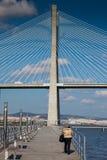 ΛΙΣΣΑΒΩΝΑ, ΠΟΡΤΟΓΑΛΙΑ - 31 Ιανουαρίου 2011: Περιοχή γύρω από το πάρκο των εθνών, με τη Gama του Vasco DA γέφυρα στο υπόβαθρο Στοκ φωτογραφίες με δικαίωμα ελεύθερης χρήσης