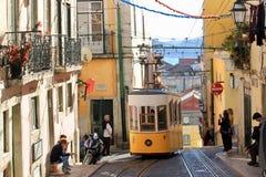 Λισσαβώνα Πορτογαλία, παλαιά πόλης τραμ Στοκ εικόνα με δικαίωμα ελεύθερης χρήσης
