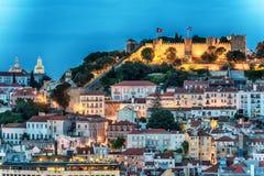 Λισσαβώνα, Πορτογαλία: εναέρια άποψη η παλαιά πόλη και το Σάο Jorge Castle, Castelo de Sao Jorge Στοκ Φωτογραφίες