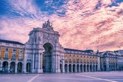 Λισσαβώνα, Πορτογαλία: η θριαμβευτική αψίδα Rua Αουγκούστα, Arco Triunfal DA Rua Αουγκούστα Στοκ Φωτογραφία