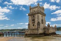 Λισσαβώνα, Πορτογαλία - 18 Μαΐου 2017: Ιστορικός πύργος του Βηθλεέμ στην ετικέττα Στοκ Εικόνα