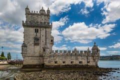 Λισσαβώνα, Πορτογαλία - 18 Μαΐου 2017: Ιστορικός πύργος του Βηθλεέμ στην ετικέττα Στοκ Εικόνες