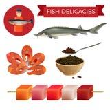 Λιχουδιές ψαριών καθορισμένες διανυσματική απεικόνιση