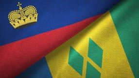 Λιχτενστάιν και Άγιος Βικέντιος και Γρεναδίνες δύο υφαντικό ύφασμα σημαιών απεικόνιση αποθεμάτων
