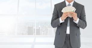 Λογαριασμοί εκμετάλλευσης κορμών επιχειρηματιών ενάντια στα παράθυρα Στοκ Εικόνα