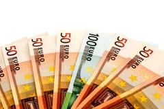 Λογαριασμοί Eeuro που απομονώνονται στο άσπρο υπόβαθρο Στοκ Εικόνες