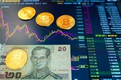 Λογαριασμός Βιετνάμ εγγράφου είκοσι VND, θολωμένο υπόβαθρο Το ηλεκτρονικό πρόγραμμα του bitcoin στην ανταλλαγή, εμπόρια όγκου, επ στοκ εικόνα