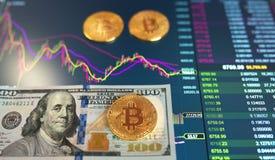 Λογαριασμός εγγράφου εκατό δολάρια, Δολ ΗΠΑ, θολωμένο υπόβαθρο Το ηλεκτρονικό πρόγραμμα του bitcoin στην ανταλλαγή, εμπόρια όγκου στοκ φωτογραφία με δικαίωμα ελεύθερης χρήσης