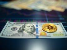 Λογαριασμός εγγράφου εκατό δολάρια, Δολ ΗΠΑ, θολωμένο υπόβαθρο Το ηλεκτρονικό πρόγραμμα του bitcoin στην ανταλλαγή, στο όργανο ελ στοκ εικόνες