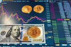 Λογαριασμός εγγράφου εκατό δολάρια, Δολ ΗΠΑ, θολωμένο υπόβαθρο Το ηλεκτρονικό πρόγραμμα του bitcoin στην ανταλλαγή, εμπόρια όγκου στοκ εικόνα με δικαίωμα ελεύθερης χρήσης