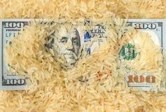 Λογαριασμός εκατό δολαρίων που καλύπτεται στο κίτρινο ρύζι στοκ φωτογραφία