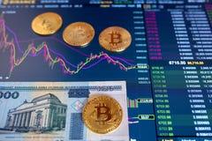 Λογαριασμός λευκορωσικό BYN, θολωμένο υπόβαθρο εγγράφου Το ηλεκτρονικό πρόγραμμα του bitcoin στην ανταλλαγή, εμπόρια όγκου, στοκ φωτογραφία