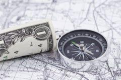 Λογαριασμός, πυξίδα και χάρτης ένας-δολαρίων στοκ φωτογραφίες