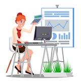 Λογιστική, μετρώντας χρήματα γυναικών στον πίνακα με τον υπολογιστή και διάνυσμα υπολογιστών απομονωμένη ωθώντας s κουμπιών γυναί απεικόνιση αποθεμάτων