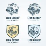 Λογότυπα λιονταριών, διακριτικά, διανυσματικό σύνολο εμβλημάτων Στοκ εικόνα με δικαίωμα ελεύθερης χρήσης