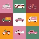 Λογότυπα και εικονίδια μεταφορών καθορισμένα Στοκ Εικόνες