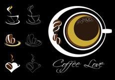 Λογότυπα και στοιχεία καφέ για το σχέδιο Στοκ Εικόνες