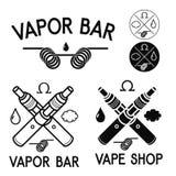 Λογότυπα καταστημάτων και φραγμών Vape Στοκ Εικόνες