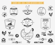 Λογότυπα κοτόπουλου, ετικέτες, διαγράμματα και στοιχεία σχεδίου Στοκ φωτογραφία με δικαίωμα ελεύθερης χρήσης
