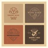 Λογότυπα κρασιού Grunge Εκλεκτής ποιότητας διανυσματικά εμβλήματα κρασιού hipster ελεύθερη απεικόνιση δικαιώματος