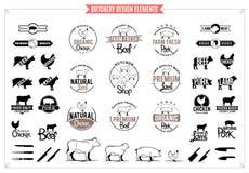 Λογότυπα κρεοπωλείων, ετικέτες, διαγράμματα και στοιχεία σχεδίου Στοκ φωτογραφία με δικαίωμα ελεύθερης χρήσης