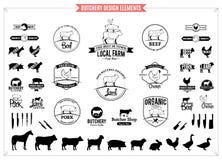 Λογότυπα κρεοπωλείων, ετικέτες, διαγράμματα και στοιχεία σχεδίου Στοκ φωτογραφίες με δικαίωμα ελεύθερης χρήσης